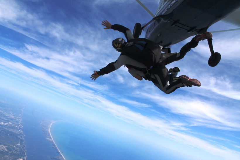 Tandem Free Falling over Cape Canaveral